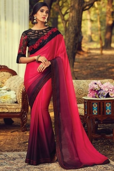 Dark Pink and Purple Silk Plain Saree with Floral Embroidered Cutwork Border