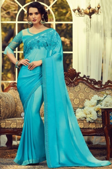 Light Blue Silk Embroidered Saree with Designer Blouse