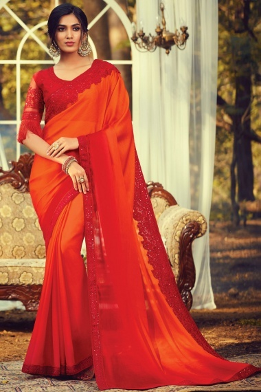 Dark Orange and Red Shaded Silk Plain Saree with Floral Embroidered Border