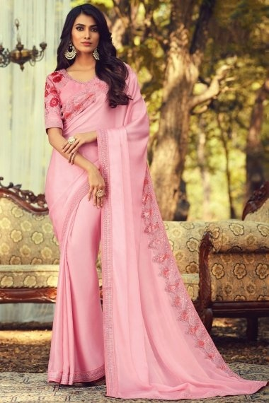 Pink Silk Plain Saree with Sequins Worked Border