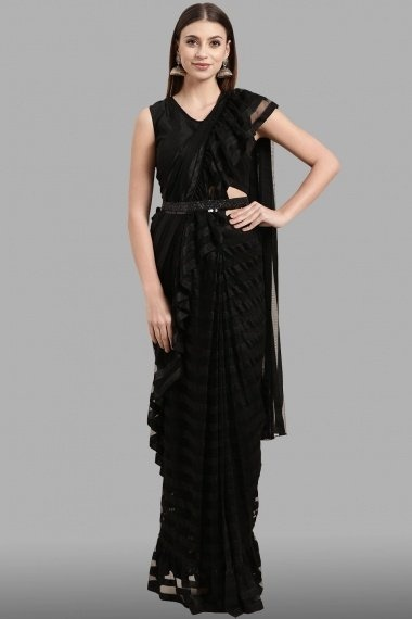 Black Polyester Pre Stitched Fancy Ruffle Saree