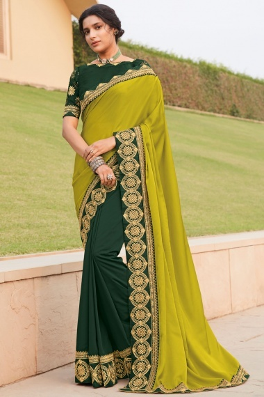 Green Shaded Silk Half and Half Saree with Embroidered Border