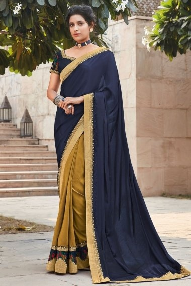 Navy Blue and Mustard Silk Half and Half Saree with Embroidered Border