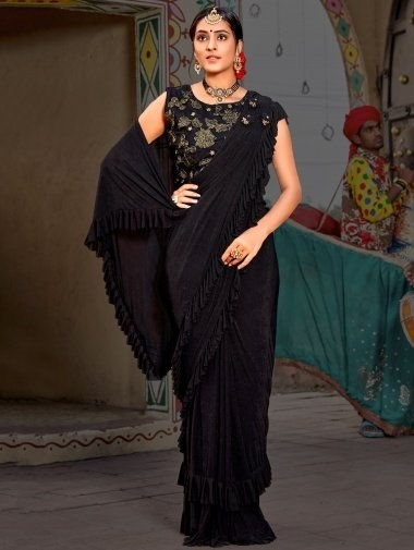 Black Lycra Plain Fancy Pre Stitched Ruffle Saree with 3D Patch Work