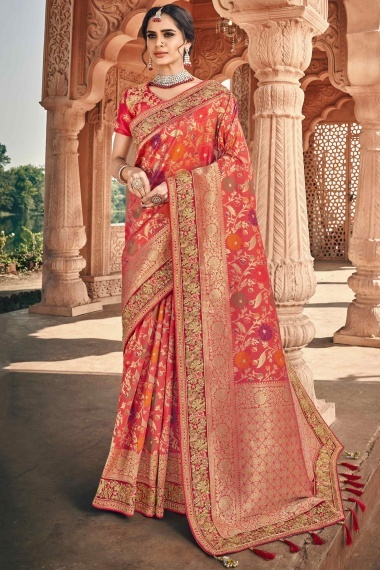 Coral Pink Banarasi Silk Floral Woven Saree with Embroidered Lace