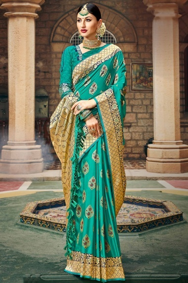 Sea Green Silk Traditional Saree with Floral Woven Border