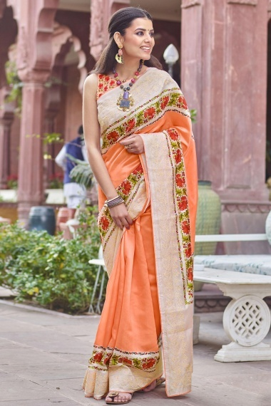 Peach Art Silk Digital Floral Print Bordered Saree with Embroidery