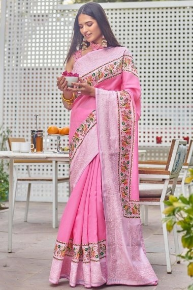 Pink Art Silk Digital Floral Print Bordered Saree with Embroidery