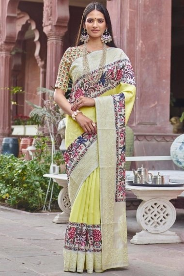 Light Yellow Art Silk Digital Floral Print Bordered Saree with Embroidery