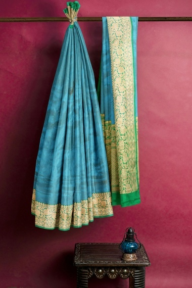 Turquoise Blue Silk Saree with Contrast Floral Border