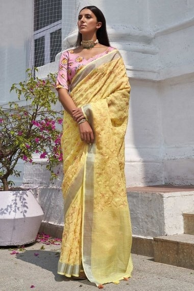 Yellow Cotton Saree with Embroidery