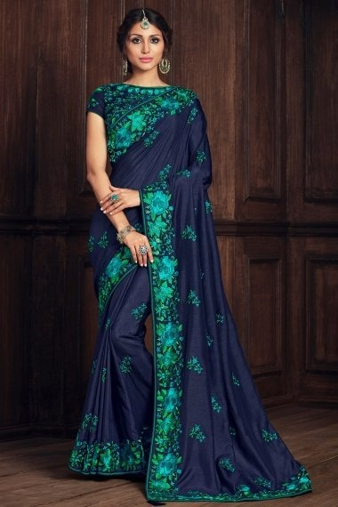 Blue Art Silk Saree with Floral Embroidered Border