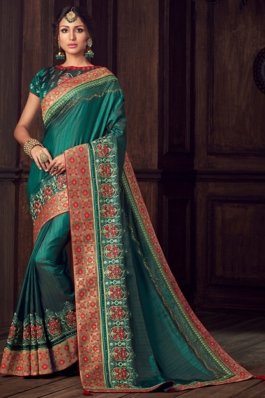 Green Art Silk Embroidered Saree with Woven Border