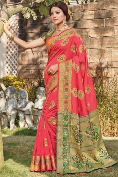 Coral Pink Art Silk Woven Saree with Contrast Floral Pallu