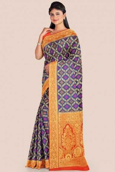 Navy Blue Silk Checks Woven Saree with Red Border and Pallu