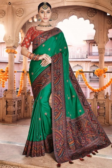 Forest Green Silk Saree with Multi Colored Woven Border and Pallu