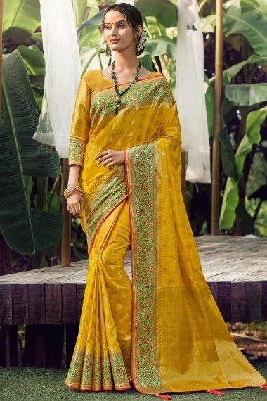 Mustard Silk Traditional Woven Saree with Floral Border