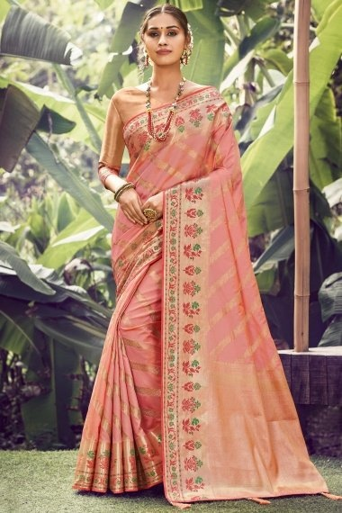 Pink Silk Traditional Woven Saree Contrast Floral Woven Border