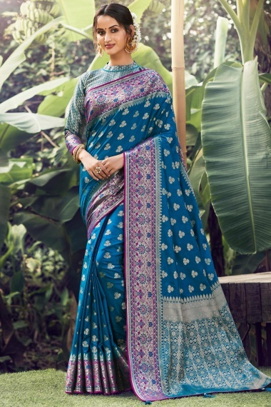 Teal Blue Silk Traditional Woven Saree Contrast Border