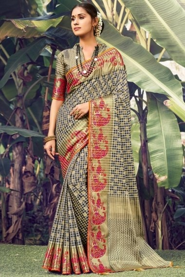 Off White and Black Silk Traditional Checks Woven Saree with Paisley and Floral Border