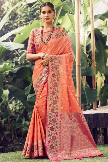 Peach Silk Traditional Saree with Floral Woven Border