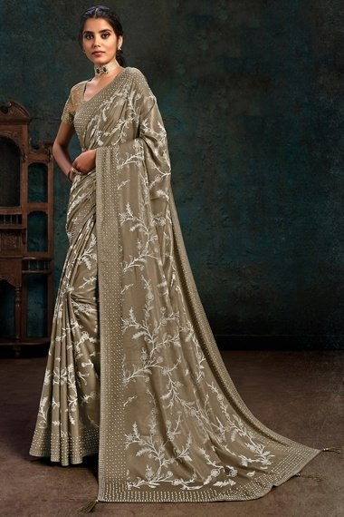Taupe Georgette Silk Embroidered Saree with Pearl Work Border