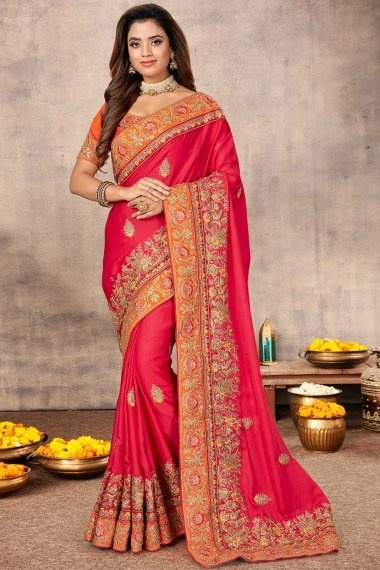 Pink Satin Saree with Heavy Work Embroidered Border