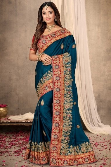 Teal Blue Satin Saree with Heavy Work Embroidered Border