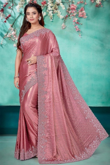 Dusty Peach Shimmer Georgette Saree with Diamond Work