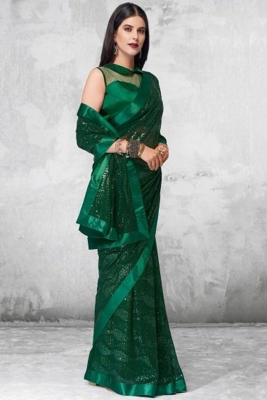 Dark Green Georgette All Over Sequins Worked Saree with Designer Blouse