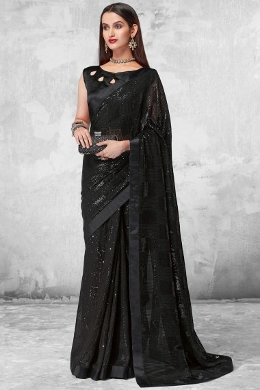 Black Georgette All Over Sequins Worked Saree with Designer Blouse