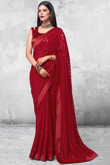 Red Georgette Designer All Over Sequins Worked Saree