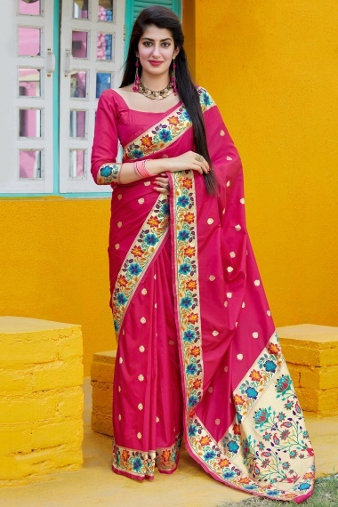 Pink Silk Saree with Contrast Floral Multi Colored Floral Woven Border and Pallu