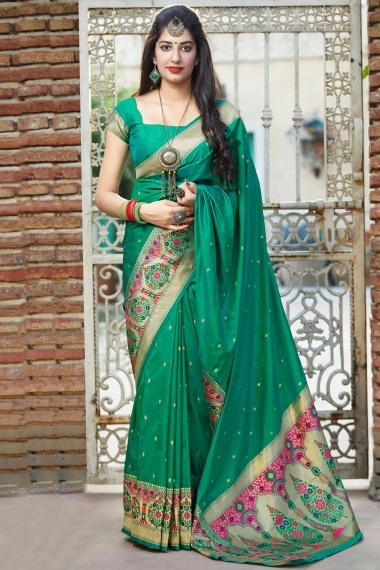 Green Silk Saree with Floral Woven Border and Pallu