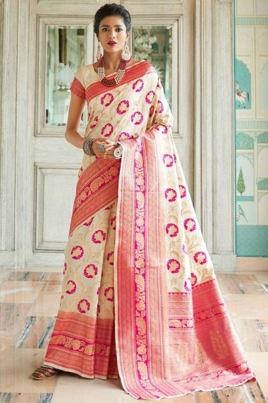 Cream and Pink Silk Floral Jaal Woven Saree
