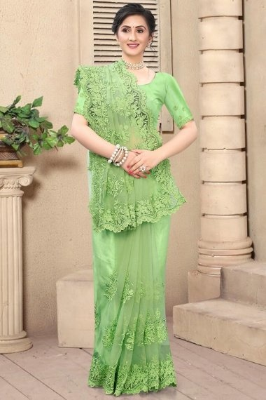 Parrot Green Net Embroidered Saree with Cutworked Border