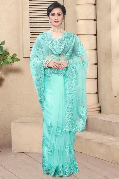 Sky Blue Net Embroidered Saree with Cutworked Border