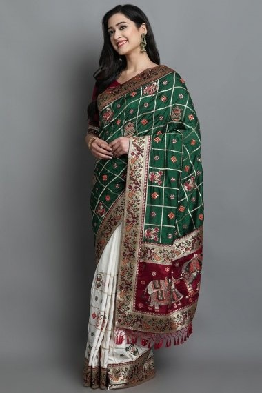 Green and Off White Art Silk Half and Half Checks Bridal Saree with Barat Inspired and Peacock Motifs