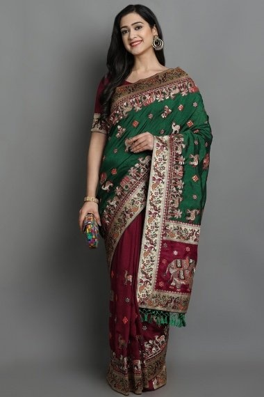 Green and Maroon Art Silk Half and Half Saree with Embroidered Animal and Bird Motifs