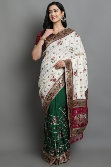 Off White and Green Traditional Bridal Saree with Peacock and Barat Inspired Motifs