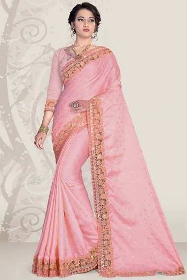 Pink Satin Embroidered Border Saree with 3D Flower