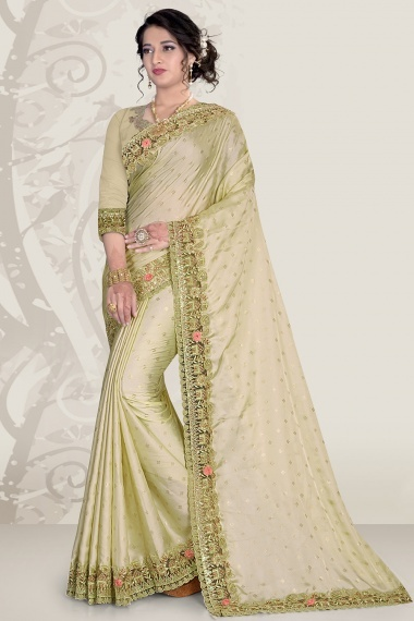 Green Satin Saree with Embroidery Border and 3D Flower