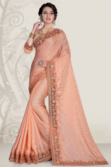 Peach Satin Embroidered Border Saree with 3D Flower