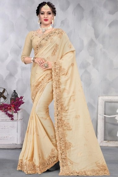 Cream Satin Floral Foil Print Motif Saree with Embroidered Lace