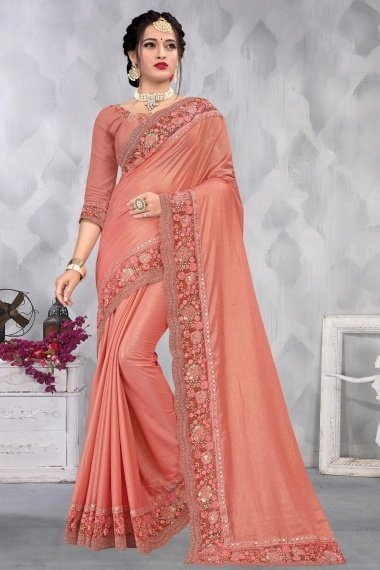 Salmon Pink Chiffon Plain Saree with Embroidery Border and 3D Flowers