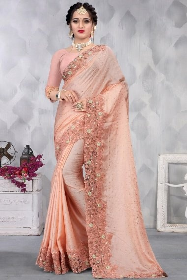 Dusty Pink Satin Dori Embroidered Border Saree with Pink 3D Flowers Motifs