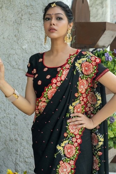 Black Georgette Silk Thread Embroidered Saree with Floral and Bird Motif Border