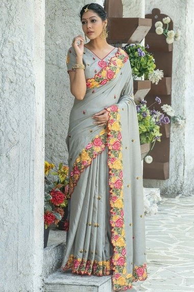 Grey Georgette Silk Thread Embroidered Saree with Floral Motif