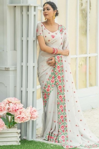 Off White Georgette Silk Thread Embroidered Saree with Floral Motif