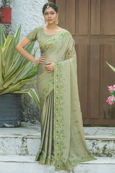 Olive Green Georgette Silk Saree with Floral Embroidered Border